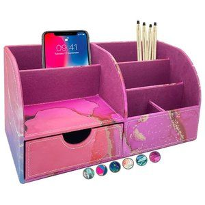 Large PU Leather Desk Organizer Cute Pen Holder Office, Marble-lous Pink